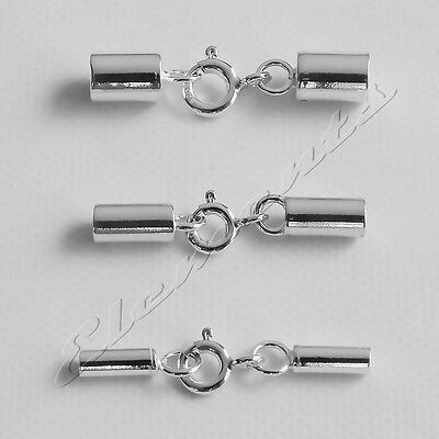 SOLID .925 STERLING SILVER CHAIN CORD END CAPS NECKLACE TIPS MULTI LISTING