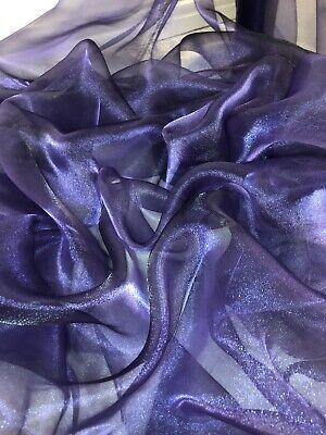 "DRESS FABRIC 58""NEW 10 MTR PURPLE ORGANZA VOILE WEDDING,CURTAIN,DECORATION"