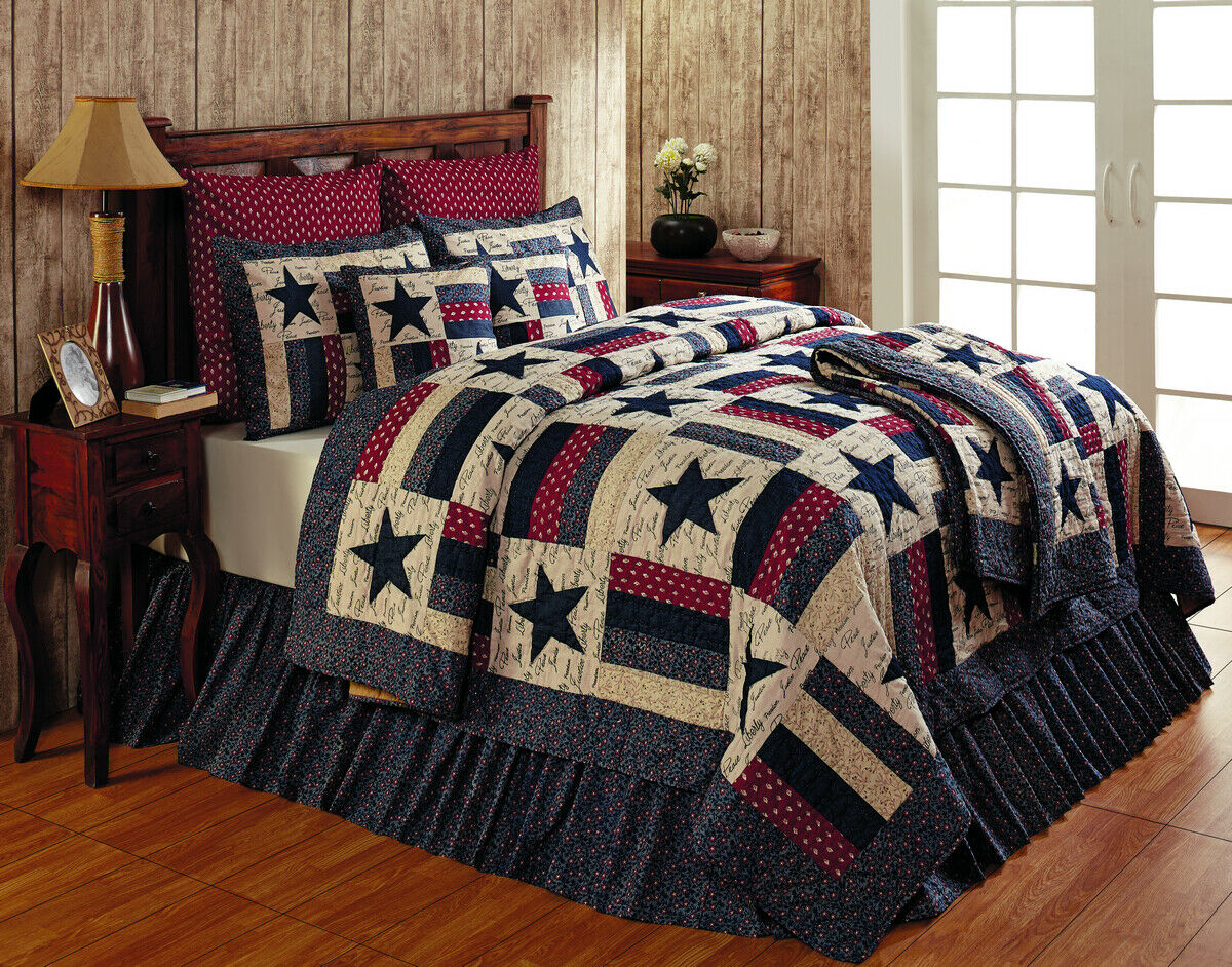 Americana patriotic Stars LIBERTY rot Blau cream country QUILT Shams Bed Skirt