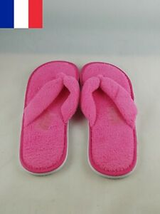Paire-Chaussons-Mule-eponge-Entredoigt-Rose-fuchsia-Taille-35-36-37-38-39-41-42
