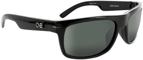 ONE Timberline Polarized Sunglasses Shiny Black with Polarized Smoke//Silver