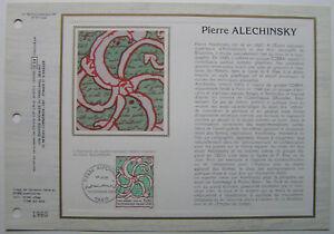 PIERRE-ALECHINSKY-Feuillet-CEF-Timbre-1er-jour-SOIE-1985