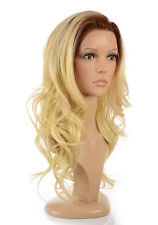 Olivia Natural Look Rooted Blonde Long Curly Lace Front Wig | Human Hair Blend