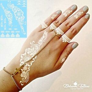 White Henna Temporary Tattoo Daisies Flowers Lace Hand Foot