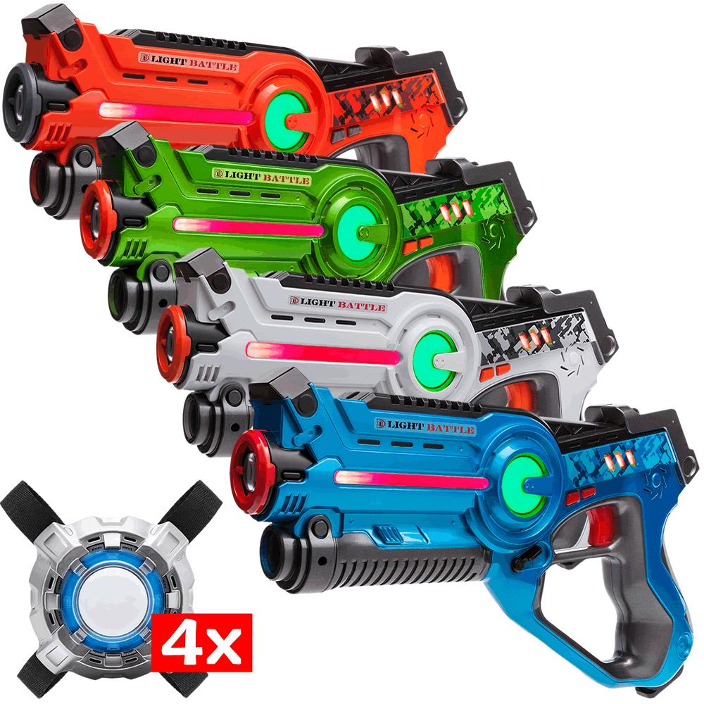 4 Laserpistole (grün, Orange, blau, weiß) + 4 Weste