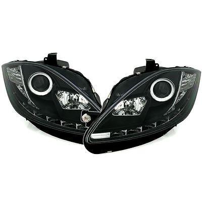 SEAT LEON/ALTEA 2009-2014 BLACK DRL DEVIL EYE AUDI R8 PROJECTOR HEADLIGHTS PAIR