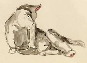 c1983-LINCOLN-KIRSTEIN-ORIGINAL-watercolour-sketch-of-CAT-cleaning-itself
