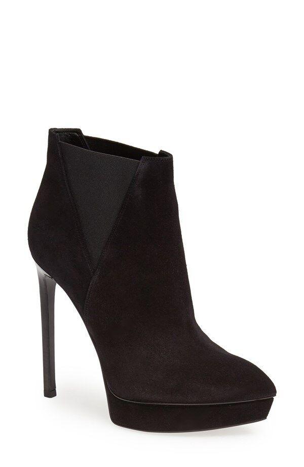 NIB YSL SAINT LAURENT PARIS Black Suede Janis Ankle Boots Heels New