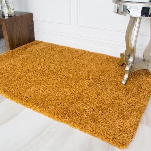 Extra Grueso De lujo amarillo ocre Shaggy Pelo Chimenea Alfombra Dormitorio Sala De Estar