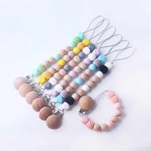Baby Teething Pacifier Clip Dummy Holder Silicone Beech Wood Beads Soother Chain