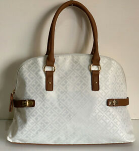 NEW-TOMMY-HILFIGER-WHITE-DOME-BOWLER-SATCHEL-TOTE-PURSE-BAG-85-SALE