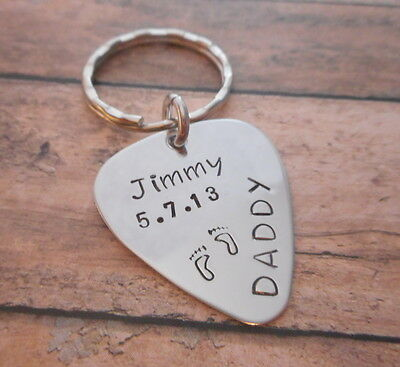 Personalized Stainless Steel Guitar Pick Necklace or Key Chain For Daddy