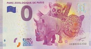 BILLET-0-EURO-PARC-ZOOLOGIQUE-PARIS-REVERS-BIG-BEN-FRANCE-NUMERO-2200