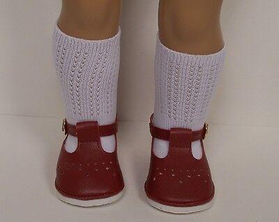 "PURPLE T-Strap Tstrap Doll SHOES /& Knee SOCKS For 18/"" American Girl Debs"