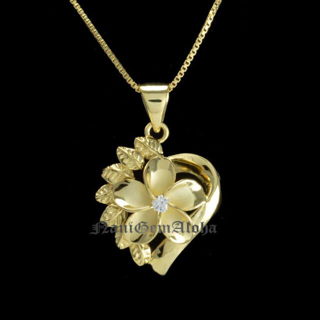 Hawaiian Sterling Silver 14k YG Gold Plated Heart 15mm Plumeria Pendant CZ