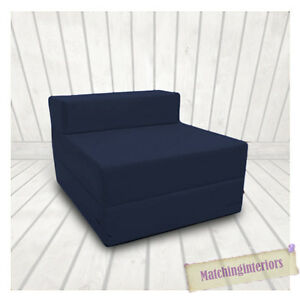 Navy Budget Block Filled Cotton Fold Out Z Bed Folding Mattress Sofa