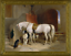 miniature 1 - Old Master Art Antique Portrait White Horse Dog Oil Painting Unframed 30x40 in