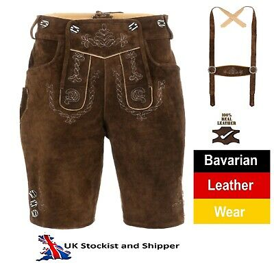 Lederhosen Leather Mens German Shorts Tracht Oktoberfest Beerfest Herrenmode 8
