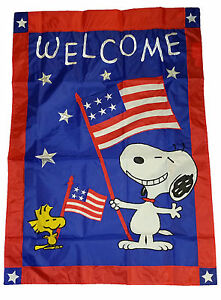 """PEANUTS SNOOPY USA PATRIOTIC UNCLE SAM APPLIQUE FLAG~12/"""" x 18/""""~LABOR DAY"""