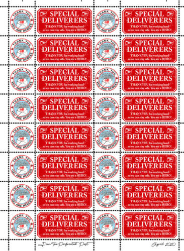 Letter Writers Artistamp Seal//Stamp Sheet Thank Our Postal Workers