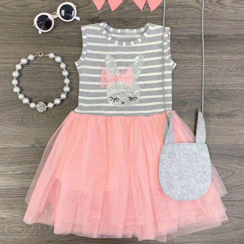 Toddler Baby Kid Girl Stripe Rabbit Patchwork Skirt Princess Dress Casual Outfit
