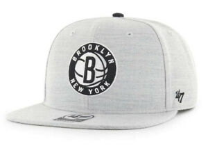 BROOKLYN NETS NBA FLAT BILL SNAPBACK BORELAND HEATHER CAP HAT NEW! '47 BRAND