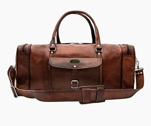 Details About Leather Vintage Duffle Bag Travel Overnight Weekender Carry On 23x8x8 Inch