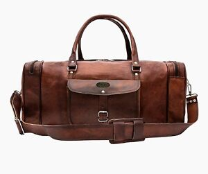 Details About New 24 Genuine Leather Duffle Bag Men Overnight Carry On Travel Luggage Gym