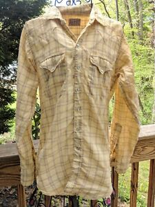 Mens-Vtg-Rockmount-Ranch-Wear-Yellow-Western-Pearl-Snap-Shirt-XS-USA-Dan-River