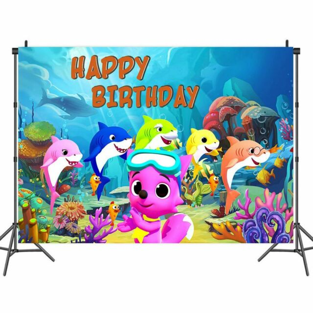 Baby Shark Happy Birthday Fabric Sign Poster Banner Backdrop Party Decor