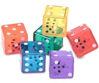 Double Dice Set Of 6 Six Sided Colored Die D6 D&d Rpg Game Color Vary