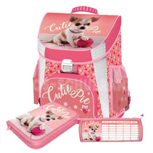 Pets Hund Schulranzen Premium Dog Tornister Schultasche Ranzen Set 3 teilig rosa