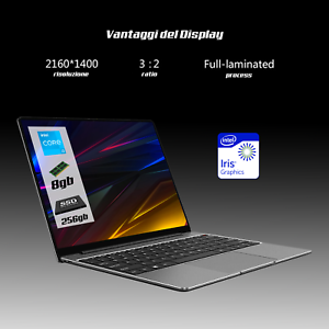 "Notebook Pc portatile intel i3 Chiwu Pro 13""Pollici UHD,5G,Ram 8Gb,M.2 256Gb W10"