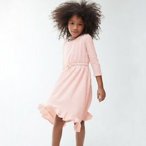 NWT-J-Crew-Crewcuts-Girl-039-s-Ruffle-Hem-Cotton-Dress-in-Pale-Pink-Multiple-Sizes