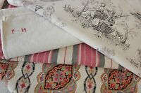 Antique French fabric vintage material PROJECT BUNDLE ticking toile de jouy