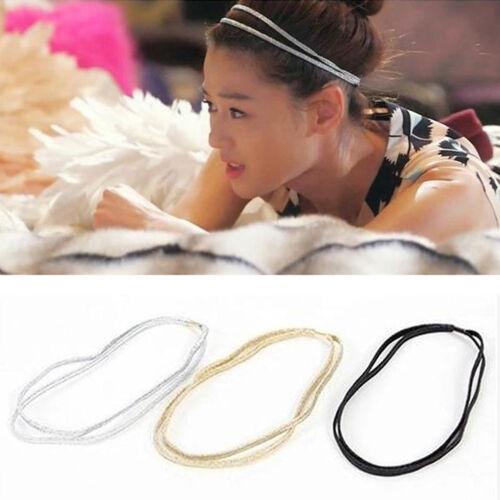 Women Chic Elastic Bling Hair Band Double Braided Glitter Headband Hair HoopNIC