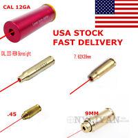 9mm/12ga/7.62x39/.223rem/30-30win/.45 Red Laser Brass Boresighter Bore Sight