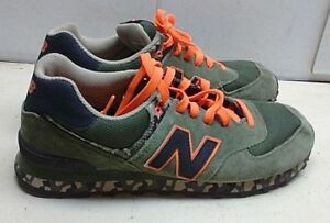 a438063f8bcad New Balance 574 Leather Green Orange Black Sneaker Camouflage Men ...