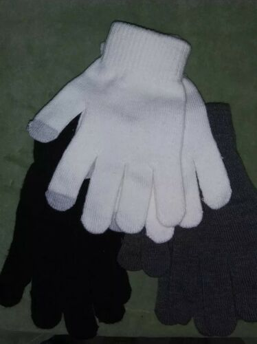C10 Lot of 3 pairs of stretchy winter gloves-black//white//gray-NWOT-