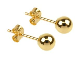 Pair Of 9ct Gold Ball ear studs In Size Ball 3mm,4mm,5mm,6mm