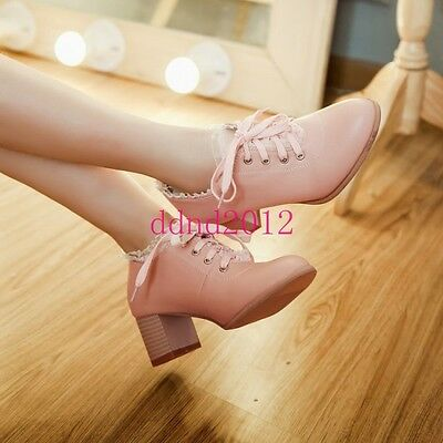 Womens Lolita Vintage Lace Block Mid Heels Lace Up Oxford Sweet Shoes Plus Size