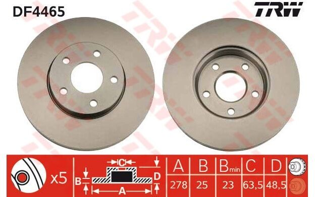 TRW Juego de 2 discos freno Antes 278mm ventilado FORD FOCUS VOLVO S40 DF4465