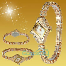 New Lady Women Fashion Luxury Quartz Rhinestone Crystal Wrist Watch Rose Gold