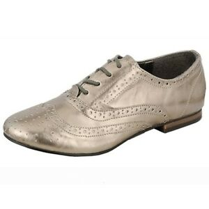 aabae926e2 Breckelle's Pewter Faux Leather Womens Flats Low Heel Oxford Shoes ...