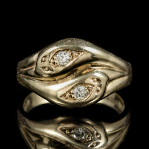 Details About Vintage Diamond Snake Ring 9ct Gold Wedding Band