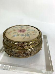 Petit Point Embroidered Top Ormolu Brass Trinket Pot Footed Vintage Velvet
