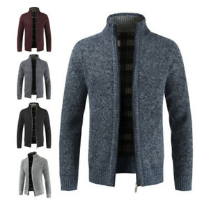 Mens-Winter-Warm-Slim-Sweater-Knitted-Cardigan-Jumper-Zip-Fleece-Lined-Coat