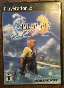 Final-Fantasy-X-video-game-case-booklet-PS2-complete-Ten-black-label-ed