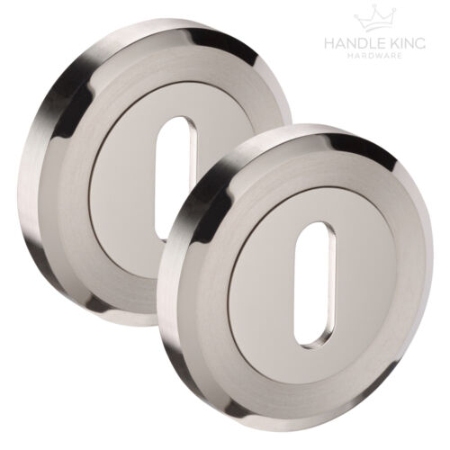 Stainless Standard Keyhole Covers Escutcheon Pairs 2 8mm Thick Duo Finish