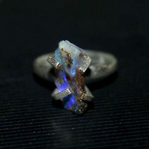 100-Natural-Ethiopian-Blue-Fire-Opal-Rough-Ring-925-Sterling-Silver-Women-Ring